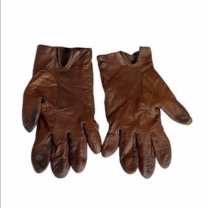 Aris Women's Brown Cashmere Lined Leather Gloves